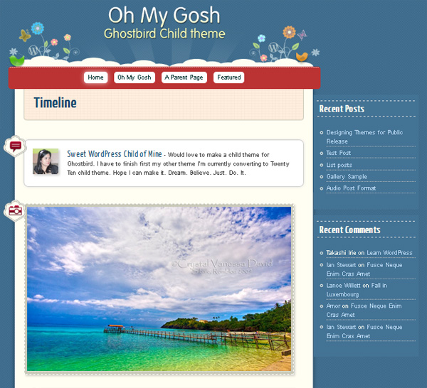 Oh My Gosh Ghostbird Child theme with sidebar